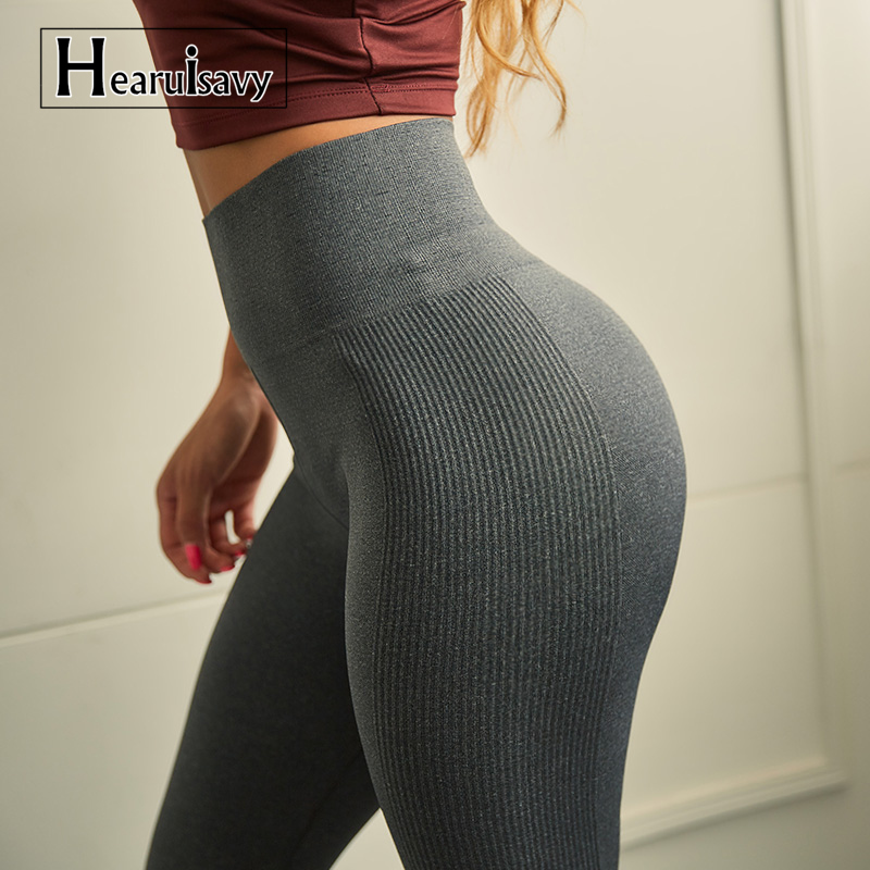 hearuisavy High Waist Seamless Yoga Pants Sports Leggings For Women's Workout Slim