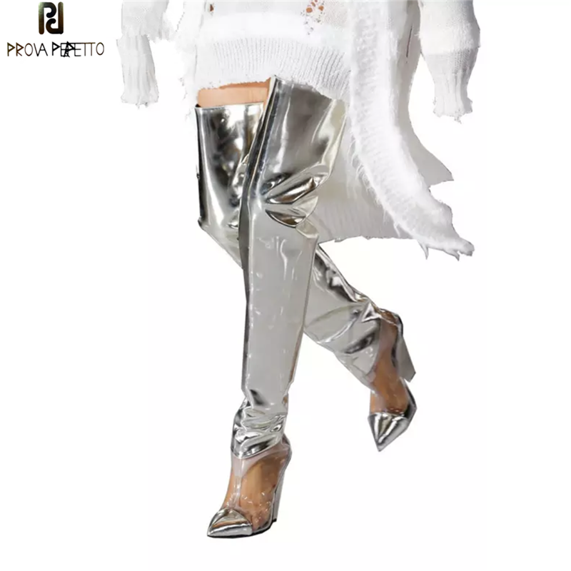 Prova Perfetto Runway Shoes Silver PVC Clear Thigh High Boots Women Sexy Spike Wedge High heels Party Shoes Fashion Botas MujerProva Perfetto Runway Shoes Silver PVC Clear Thigh High Boots Women Sexy Spike Wedge High heels Party Shoes Fashion Botas Mujer