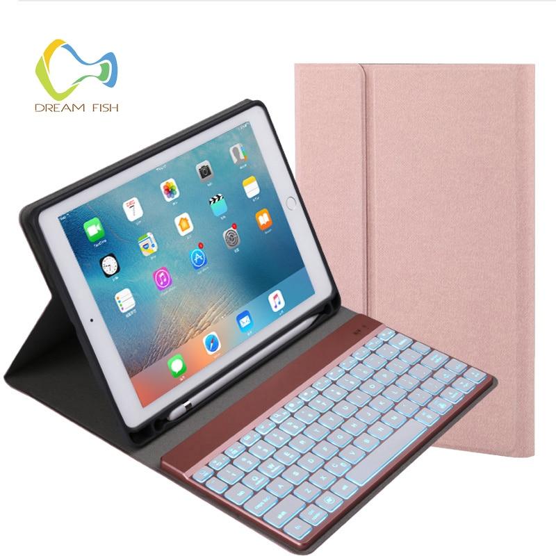Coque housse pour ipad air 2 Coque 7 couleurs LED fonction lumineuse détachable Bluetooth clavier avec porte-crayons en cuir PU