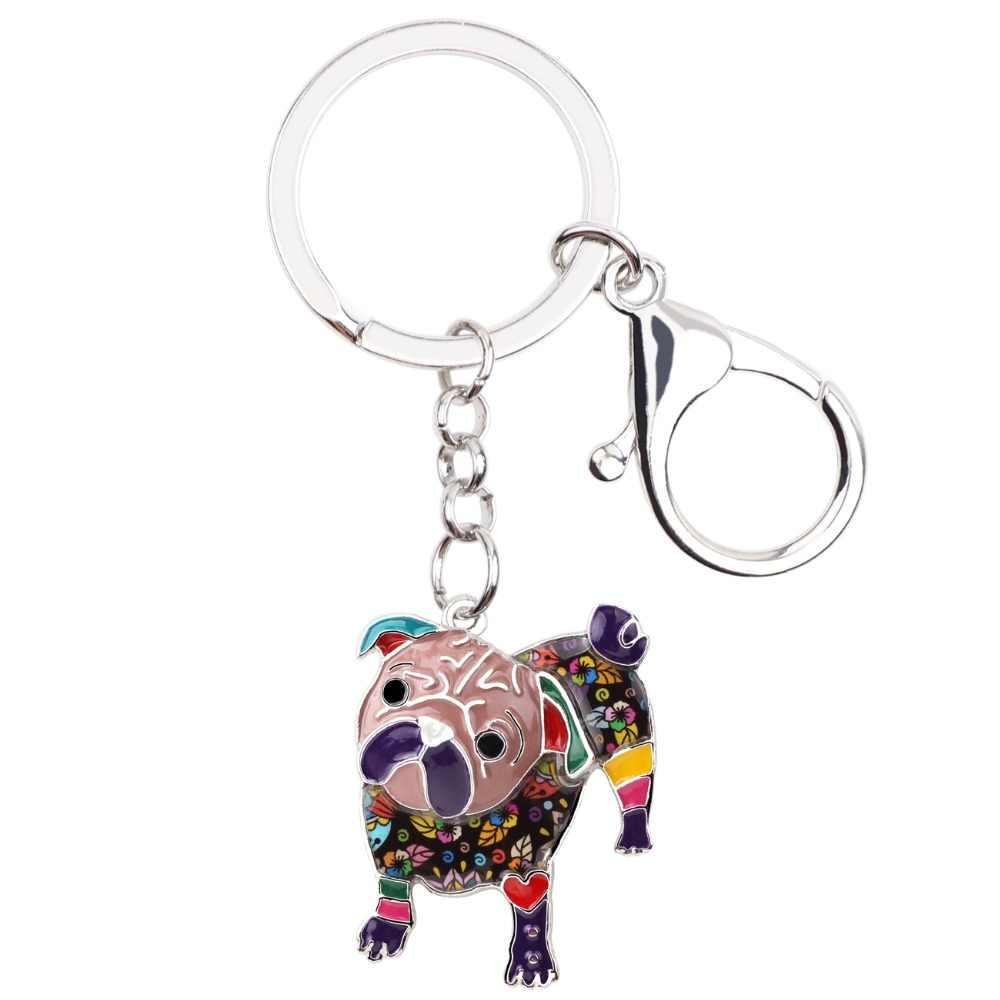 WEVENI Esmalte Metal Pug Bulldog Cão da Corrente Chave Anel Chave Charme Pingente Jóia Nova Moda Para As Mulheres Homem Chave Do Carro titular Atacado