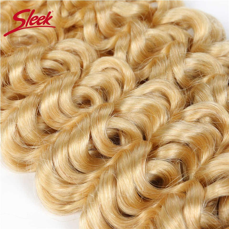 Elegancki włosy 7 sztuk klip w doczepy z ludzkich włosów brazylijski Jerry Curl miód blond #613 kolorowe Remy klipsy do przedłużania włosów