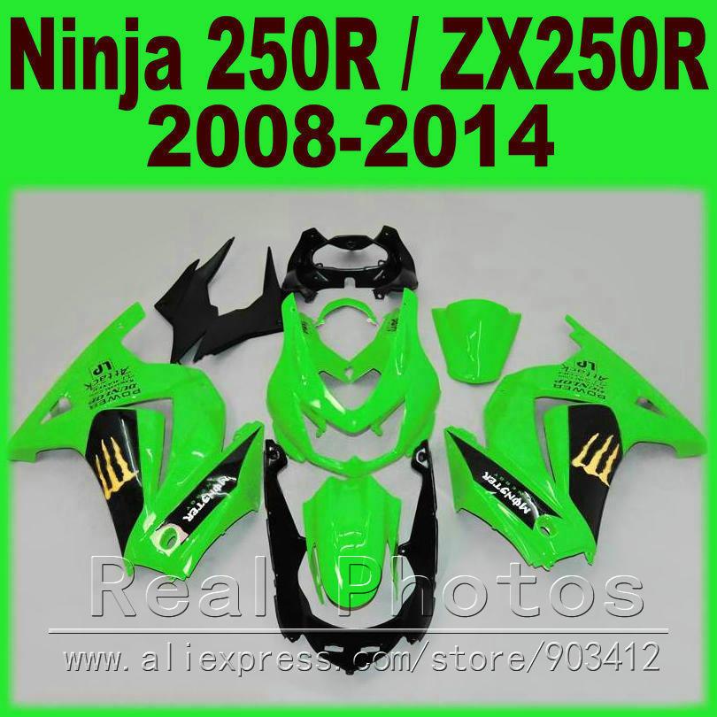 Green black for Kawasaki 250R Fairings kit Ninja ZX 250 2008 2009 2010 2011 2012 2013 2014 EX250 08 - 14 fairing kits I9C3