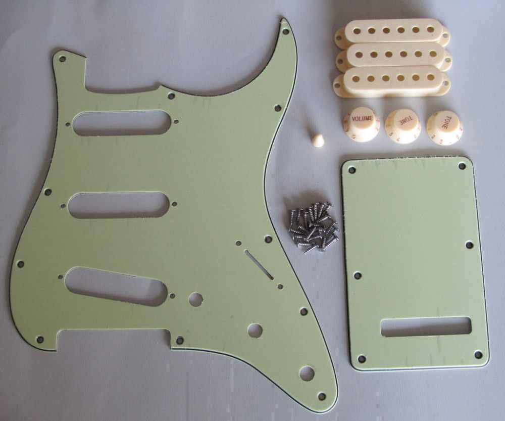 KAISH ST  SSS Pickguard Set Mint Green w/ Aged White Pickup Covers,Knobs,Switch Tip