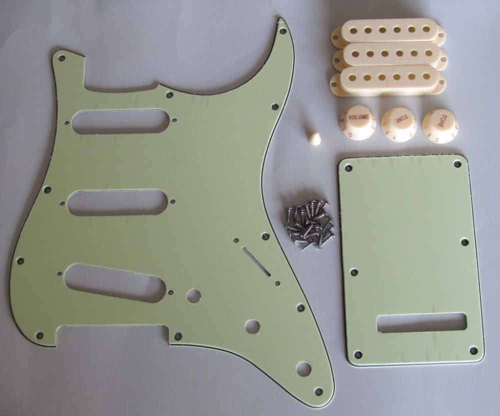 KAISH ST  SSS Pickguard Set Mint Green w/ Aged White Pickup Covers,Knobs,Switch Tip kaish 50mm pole spacing st guitar single coil pickup covers chrome