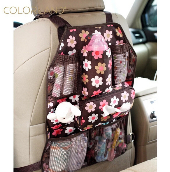 COLORLAND 54x37cm Baby Car Seat travel Bag Back hanging bags Organizer Holder tissue pocket insulated bottle Storage diaper bags