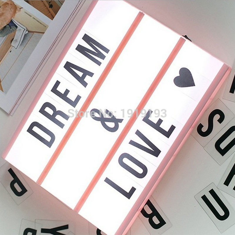 Lightbox USB LED Night Light Combination Home Birthday Wedding Decor Light Lamp Box With Letter Symbol
