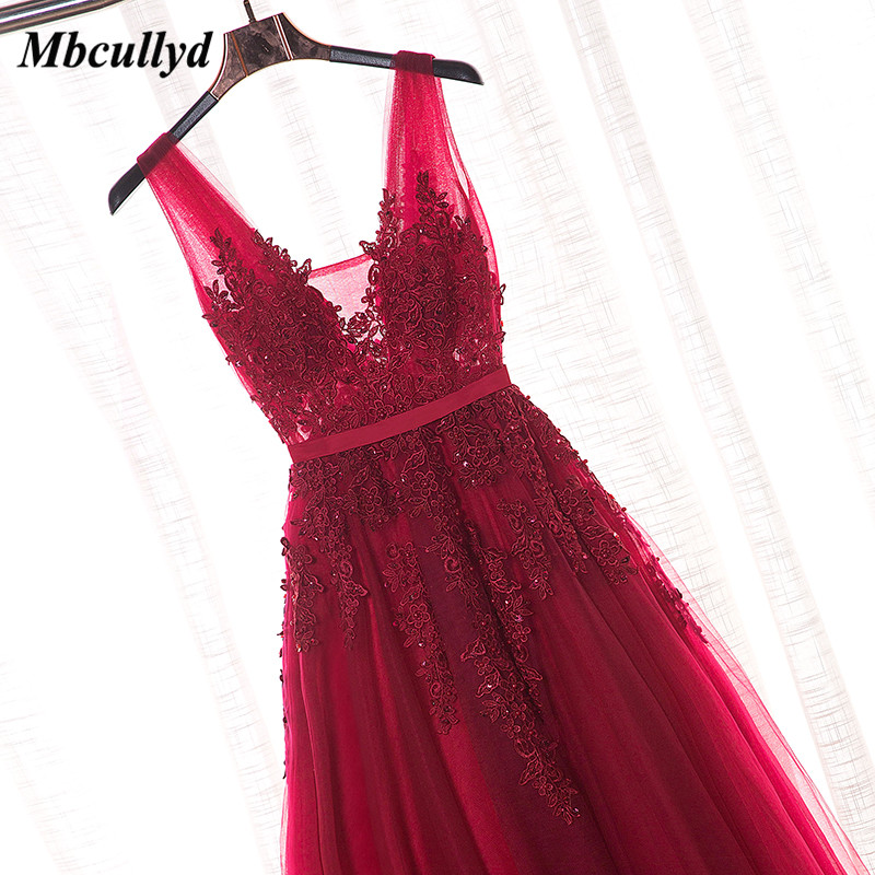 Mbcullyd Sexy V-neck Burgundy   Bridesmaid     Dresses   Charming Applique Lace   Dress   for Wedding Party Plus Size Vestidos mujer 2018