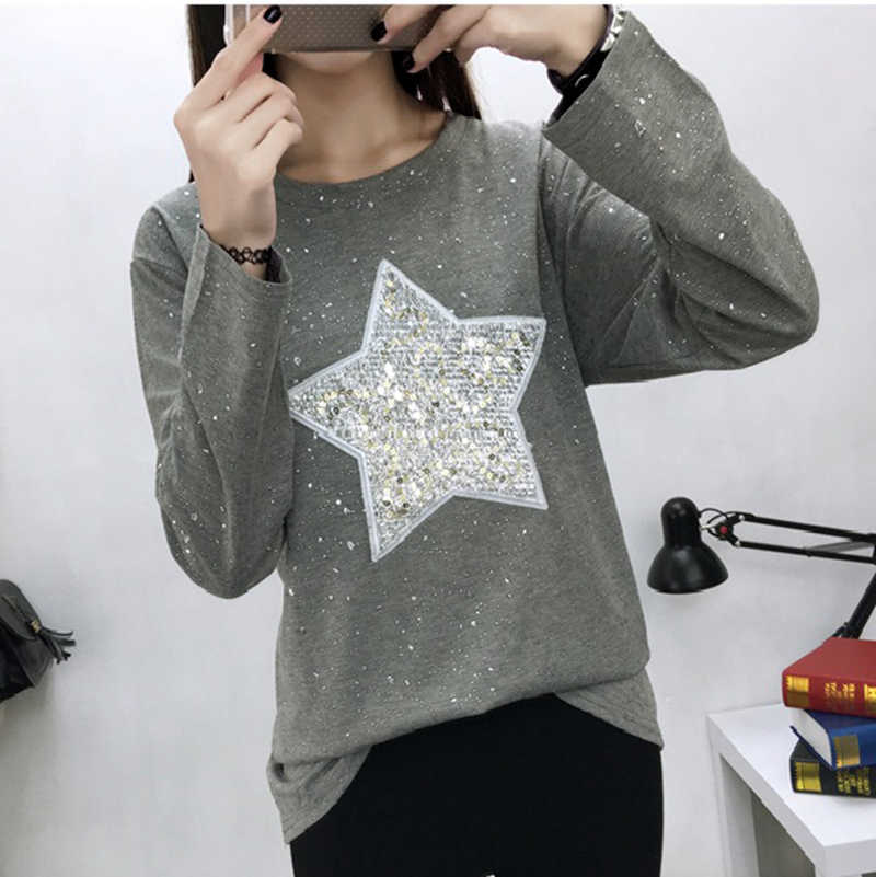 324372f00dbd ... 2018 Spring Fashion T Shirt Women Five-pointed Star Sequined Long Sleeve  Casual T- ...
