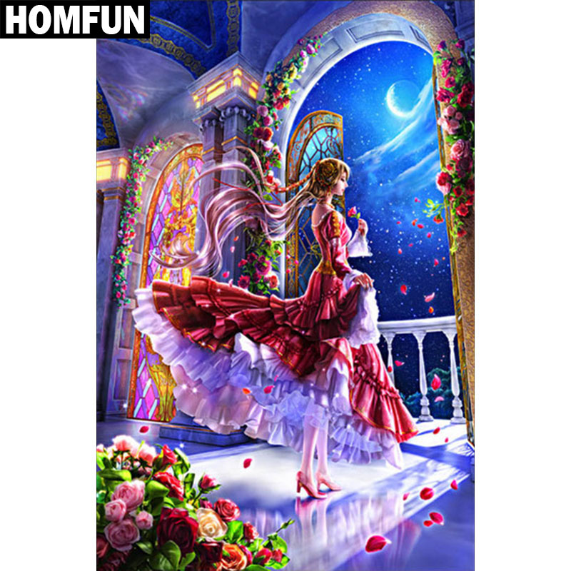 HOMFUN Full Square Round Drill 5D DIY Diamond Painting quot Cartoon princess quot Embroidery Cross Stitch 5D Home Decor Gift A06033 in Diamond Painting Cross Stitch from Home amp Garden