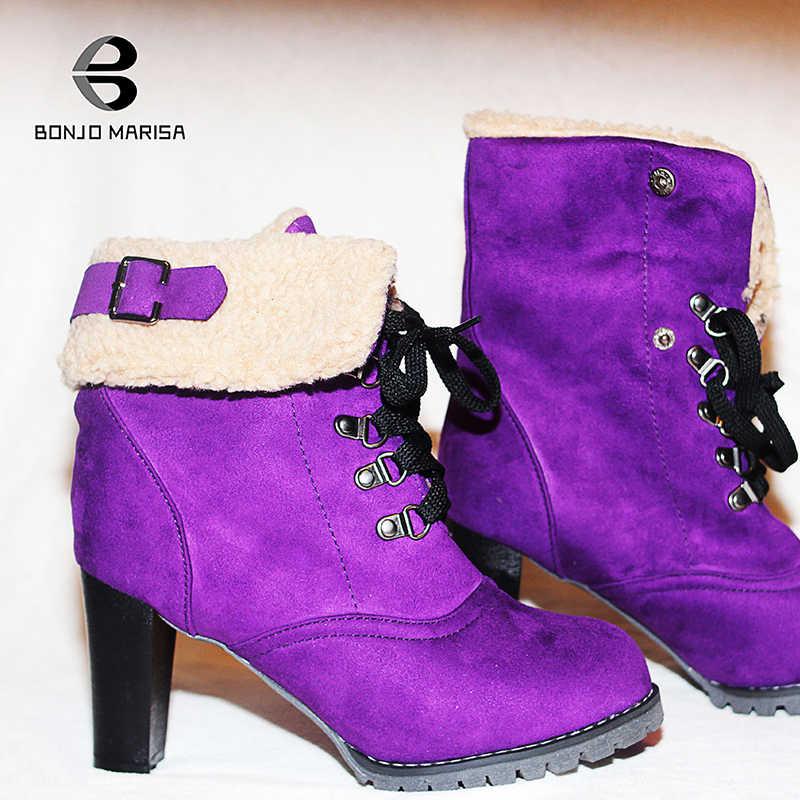 BONJOMARISA Yeni Artı Boyutu 32-44 Kış sıcak Topuk Kürk Patik Kadınlar 2019 Kış Kaymaz yarım çizmeler Kadın yüksek Topuklu Ayakkabılar Kadın