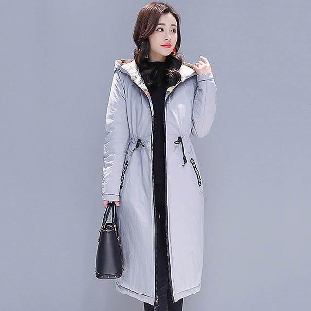 3f73df22f7b Подробнее Обратная связь Вопросы о Двусторонняя женская зимняя куртка с  капюшоном и принтом с двумя большими карманами