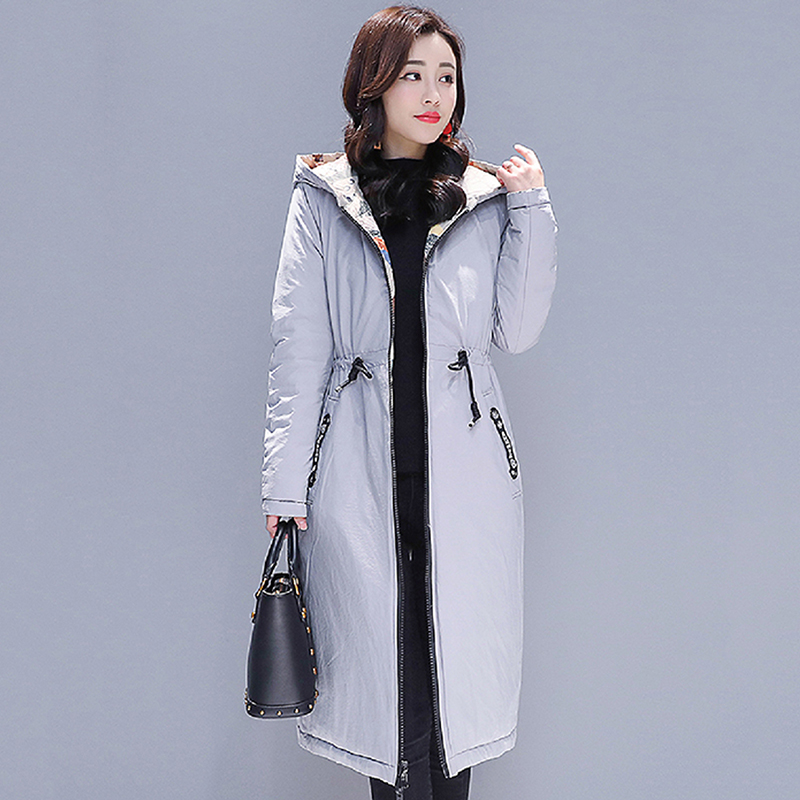 Double Two Side Women Winter Jacket Printing Hooded With Two Big Pockets Female   Down     Coat   Outwear Autumn Womens Parka