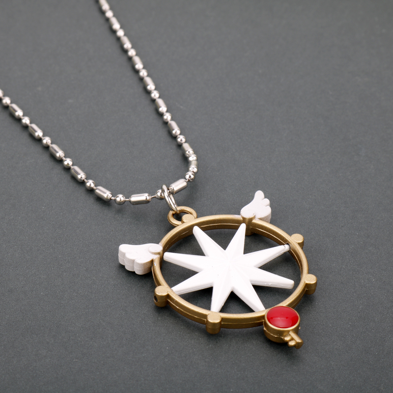 Card Captor Sakura Anime Kinomoto Star Wand Key Pendant Metal Necklace Cosplay