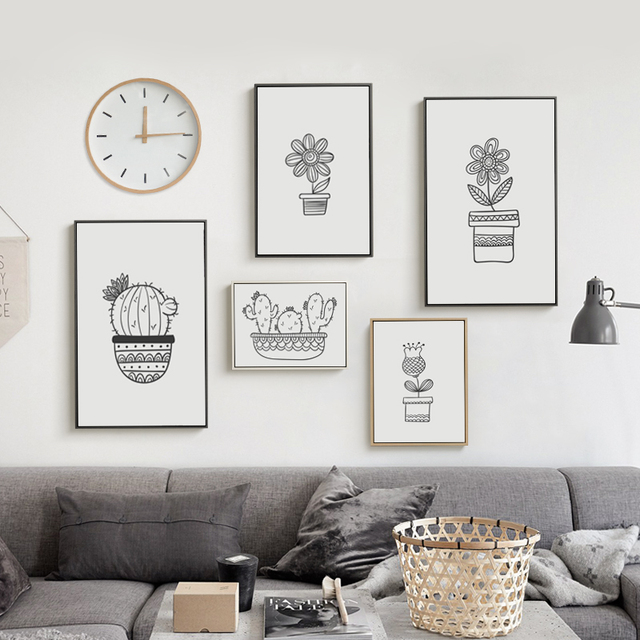 Eenvoudige Potplanten Cactus Bloemen Zwart wit Canvas Schilderij Art ...