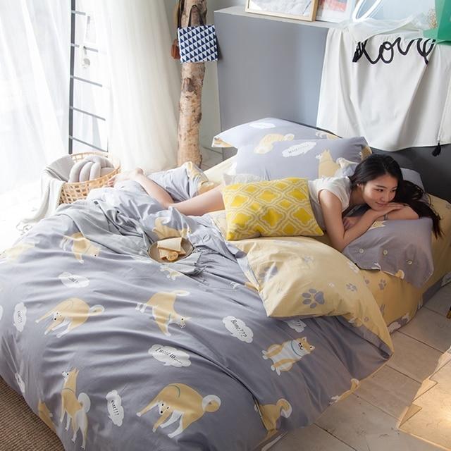 chiens imprime housse de couette reine roi literie garcons jaune drap de lit de bande dessinee