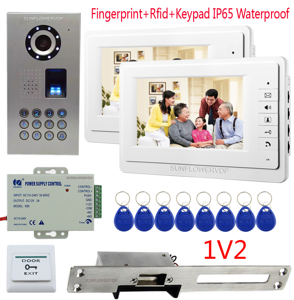 Fingerprint Rfid Keypad Video Intercom For The Apartment 2 Units 7 Color Monitor Videophone Wired Portal + Electric Strike Lock