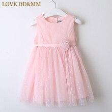 Платья для девочек LOVE DD & MM, новая детская одежда на весну 2020, милое газовое платье жилет с трехмерным цветком в горошек для девочек, платье принцессы