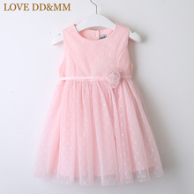 LOVE DD&MM Girls Dresses 2020 Spring New Kids Wear Girls Sweet Three Dimensional Flower Dot Mesh Gauze Vest Princess Dress