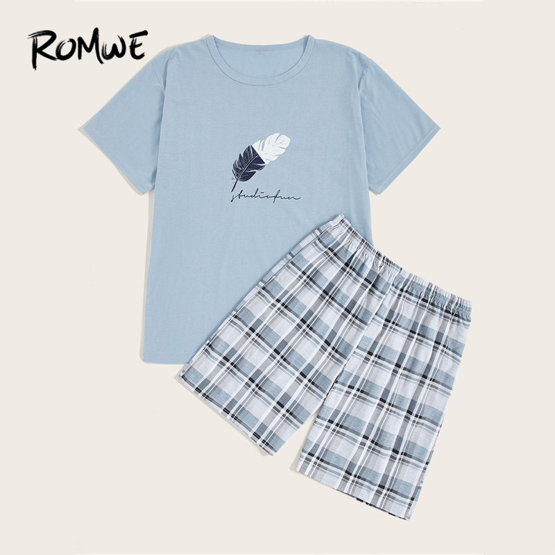 ROMWE Mens Solid Cotton PJ Sets Feather Print Blue Tees With Plaid Shorts Pajama Set Male Short Sleeve T Shirt Sleepwear Suits
