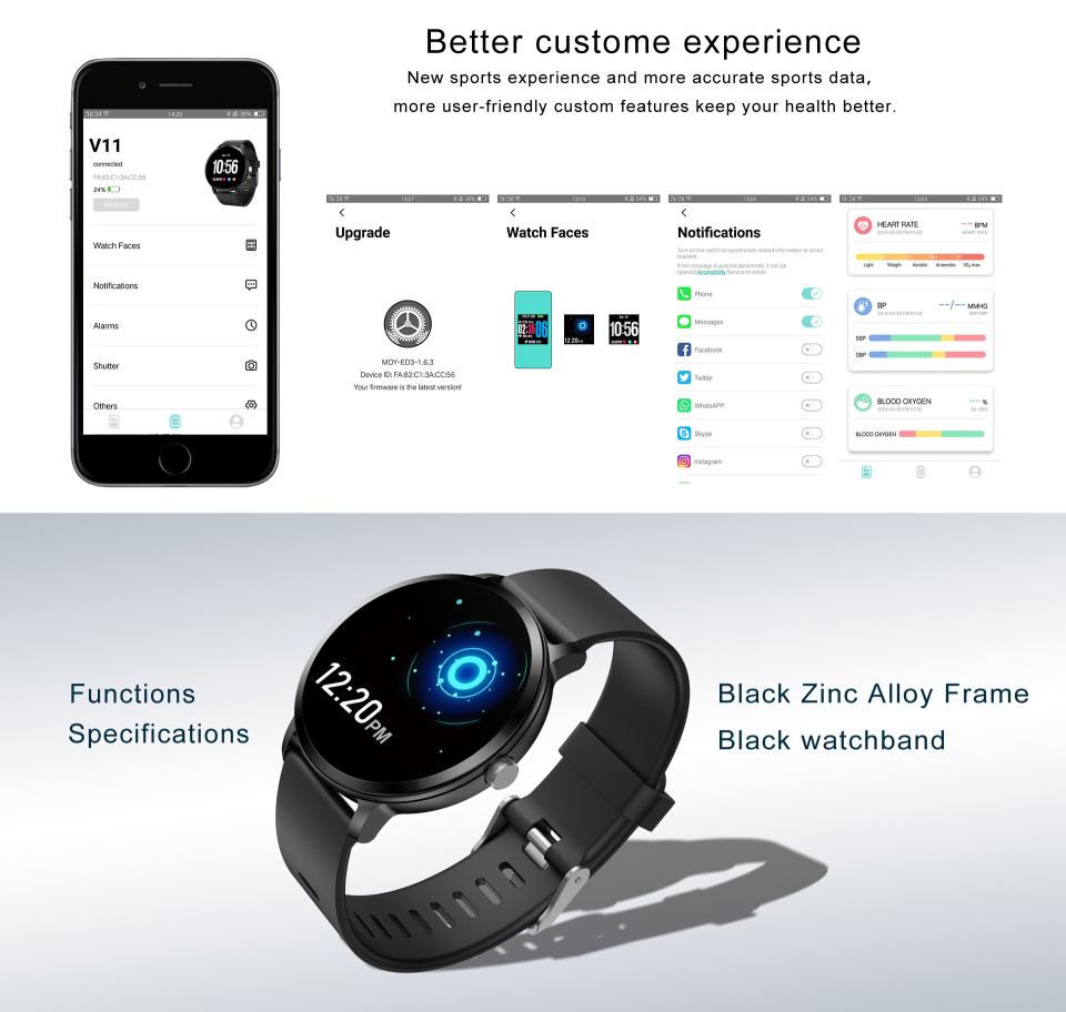 Sport watch smart tempered glass, waterproof, Android IOS Black Zink Alloy