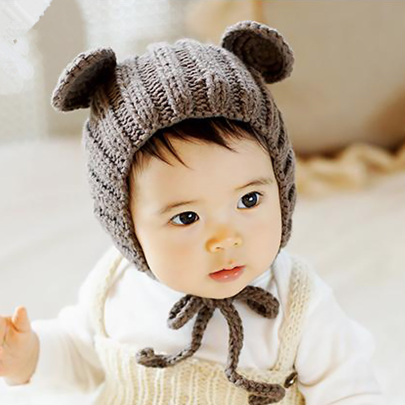 Cute Panda Ears Newborn Photography Prop Crochet Hats Handmade Baby Costume Knitted Beanies Hat Caps crochet santa claus baby photography prop costume set