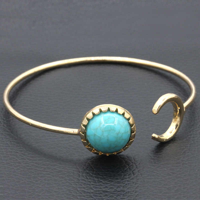 Blue Beads Moon Bangles Gold Color Silver Cuff Bracelets For Women Round Stone Charm Open Adjustable Hand Accessories Jewelry