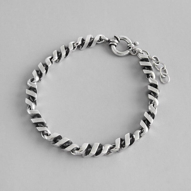 HFYK 925 Bracelet en argent Sterling Simple torsion Vintage Bracelet en argent noir pour les femmes bracelets pulseras mujer joyas de plata 925