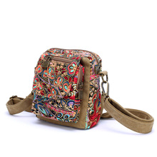 Multifunction Canvas Female Women Flower Chest Packages Shoulder Oblique Small Bags Acrossbody Multi-purpose Amphibious Handbags