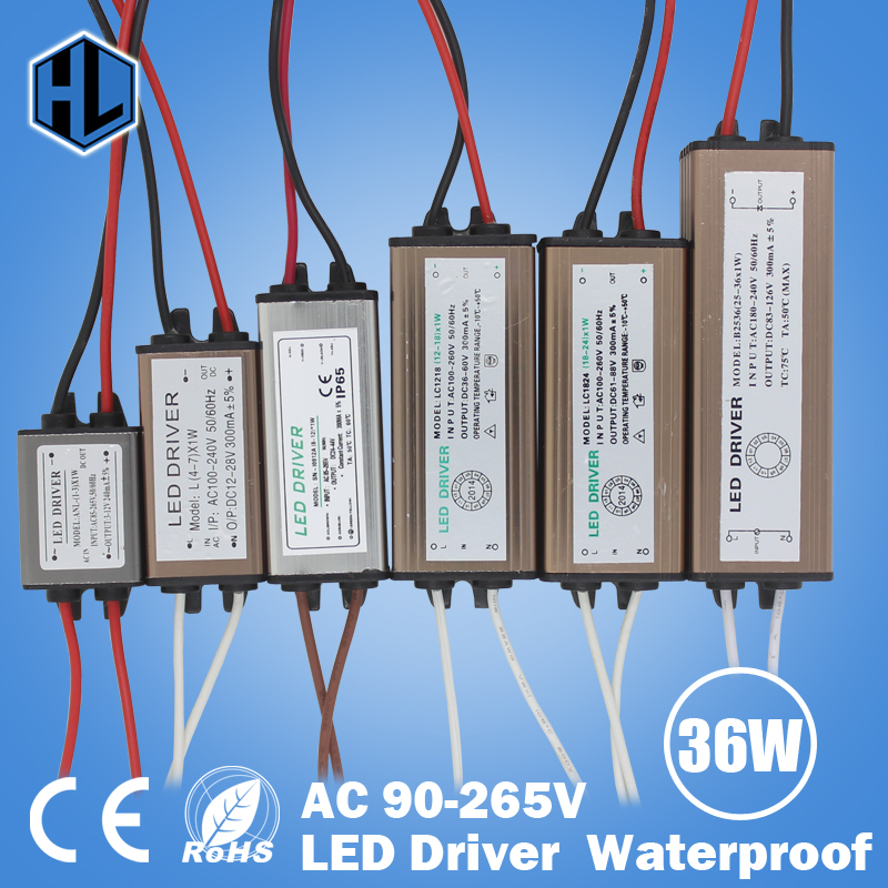 Waterproof 1W-36W LED Driver LED Transformer AC90-265V DC3-136V Constant Current 300mA Power Supply Adapter for Led Strip Lamp ключницы petek 518 022 01