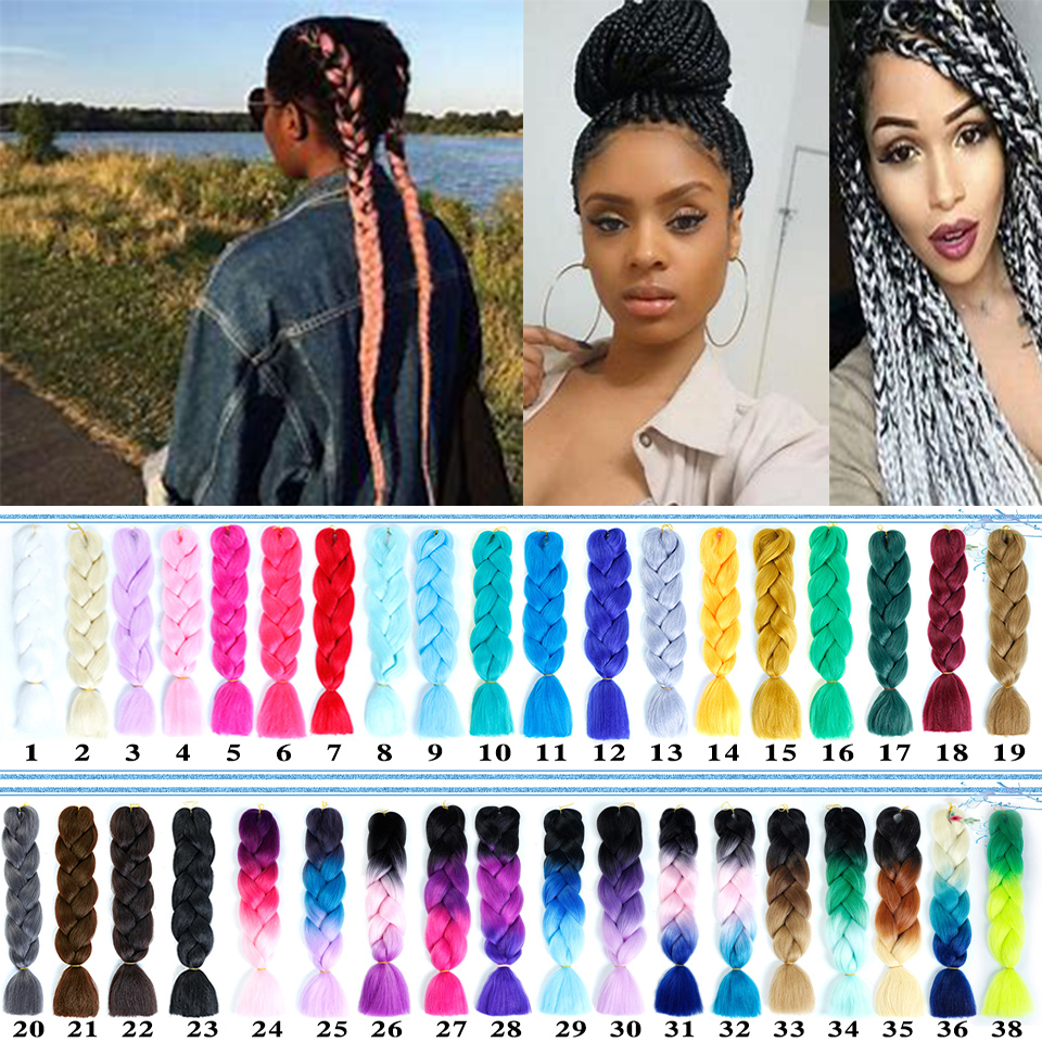 MSTN Ombre Afro Box Braiding Hair African Viscera Jumbo Braids Synthetic Hair for Crochet Braids False Hair Extensions   headwear