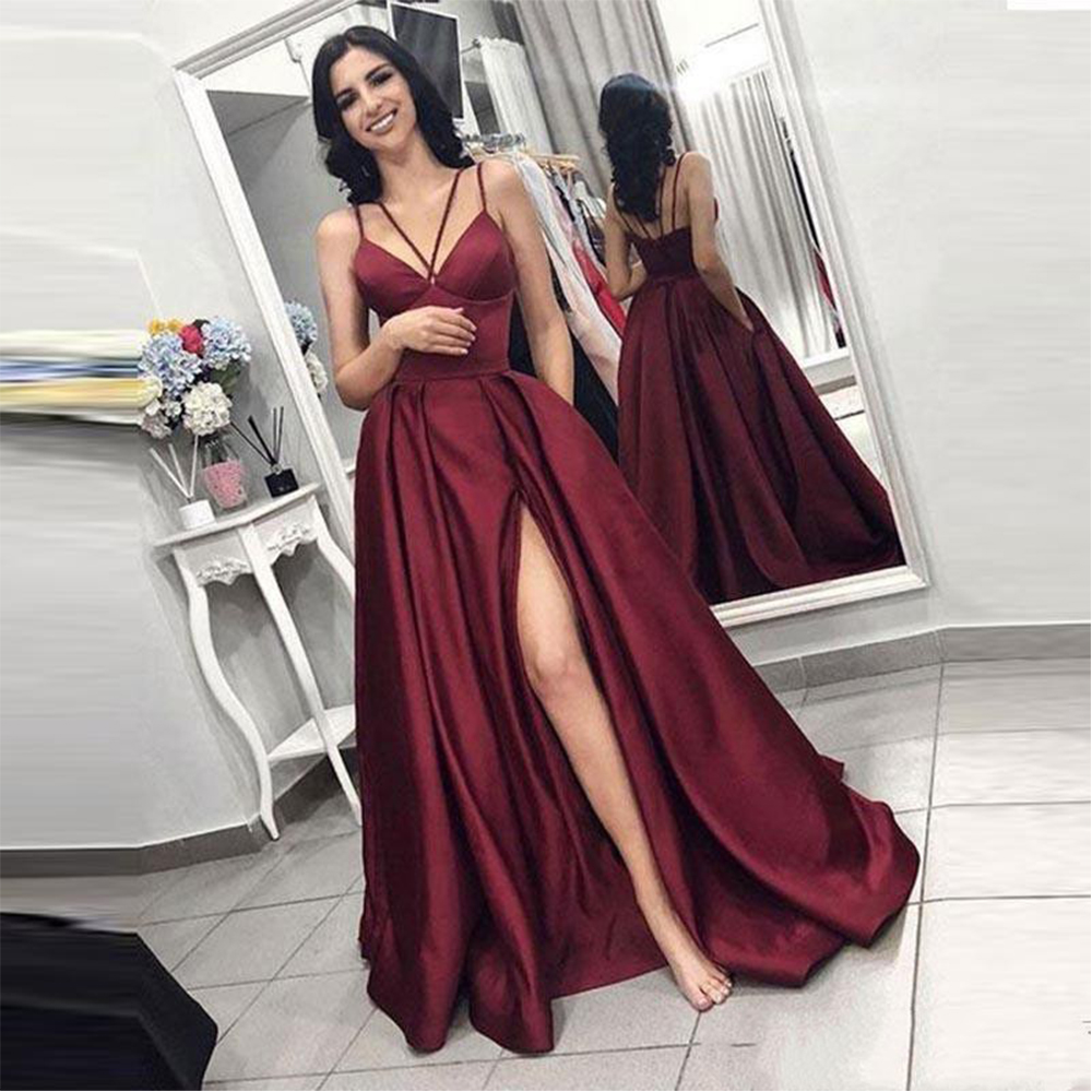 Bbonlinedress Sexy Spaghetti Straps Prom Dress Floor Length Red Satin Evening Dress 2019 Vestido de fiesta in Prom Dresses from Weddings Events