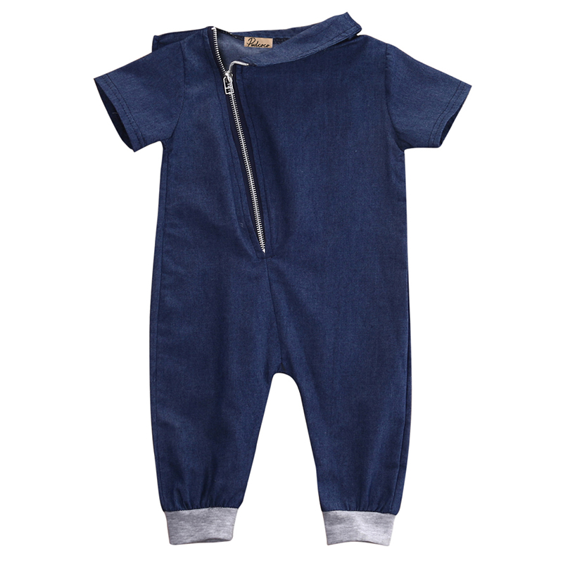 2017 Hot Denim Strampler Neugeborene Jungen Mädchen Kleidung Reißverschluss Outfits Kurzarm Kleinkind Kinder Overall Sunsuit Gute QualitäT