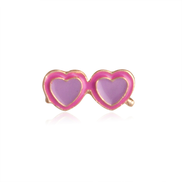 QIHE JEWELRY Coconut Orange Juice Heart Sunglasses Pink Flamingo Brooch Lapel Pin For Shirt Collar Jacket Packet Bag Jewelry