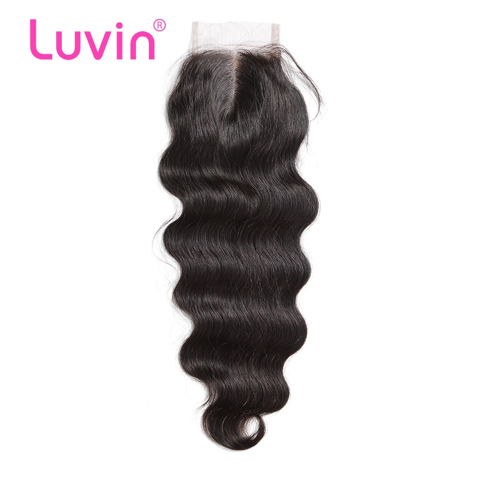 Luvin Brazilian Lace Closure Hair Body Wave 100 Remy Human Hair Closure Middle Part Bleached Knots