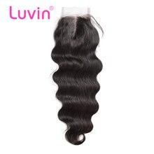 Luvin fechamento do laço brasileiro cabelo onda corpo 100% remy fechamento cabelo humano parte do meio nós descorados com o cabelo do bebê frete grátis