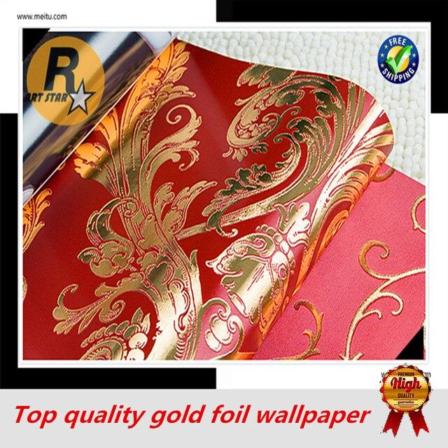 Freies Verschiffen Damaskus Und Streifen Muster Goldenen Und Roten Farbe  Tapete Für Hochzeit Wohnzimmer Schlafzimmer Goldfolie Tapeten