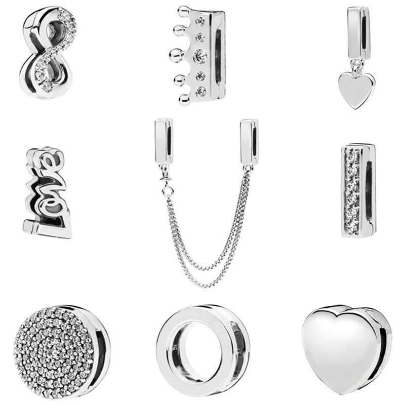 plated Silver hgih quality REFLEXIONS Charms bead for women Bracelet beads for making jewelry mix desigin clip