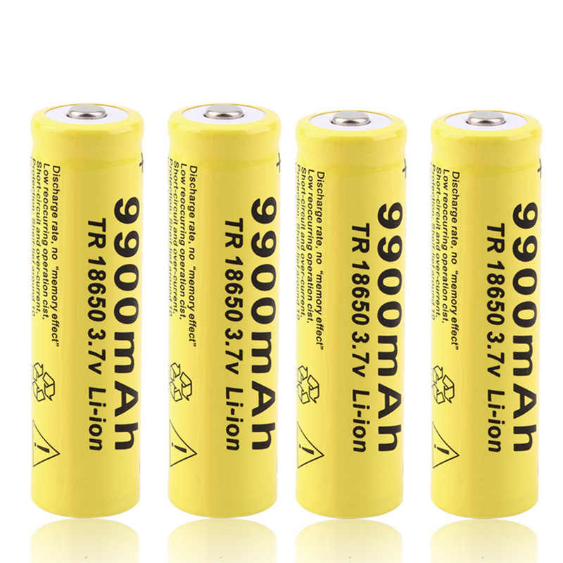 Cncool 4pcs 3.7V 9900mah 18650 Battery lithium batteria rechargeable lithium battery for flashlight Cells Drop shipping