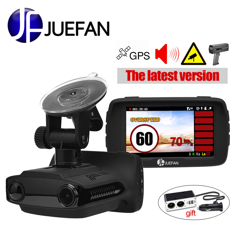 JUEFAN Hot Russie voiture dvr détecteur de radar dash cam GPS 3 dans 1 Multifonction HD 1296 p vidéo cam caméra affichage de la vitesse rappel cadeau