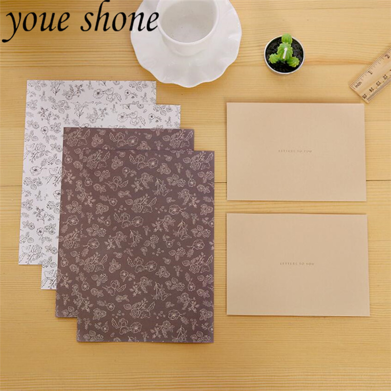1Set Kraft Envelopes Letter Paper Set Suit Chinese Ancient Style Classical Pure Color Envelope Retro For Card Scrapbooking Gift