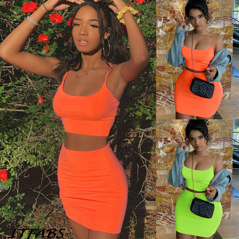 Womens Tank Crop Tops Skirt Outfits Two Piece Bodycon Bandage Party Mini Dress