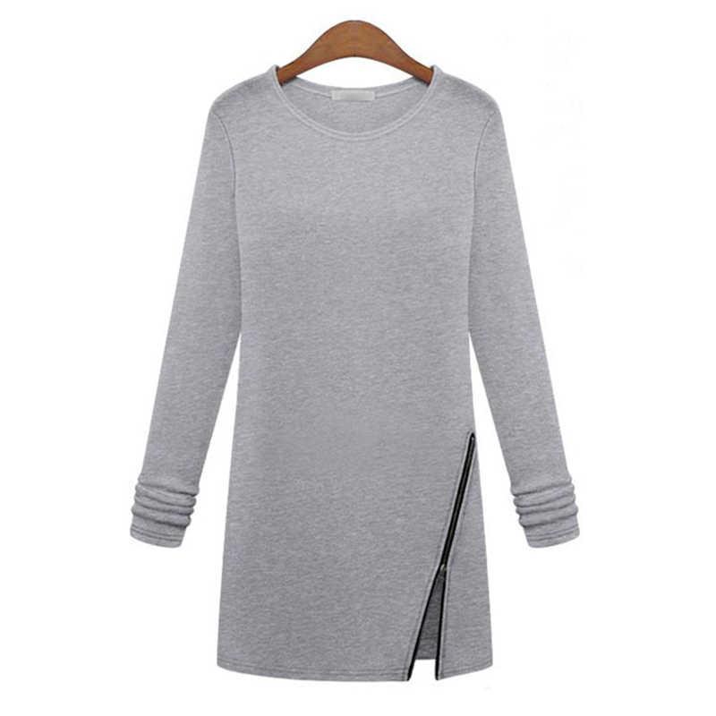 秋韓国女性の新スリムロングは斜めジッパー長袖シャツ Tシャツ女性服 Vestidos LBD9836