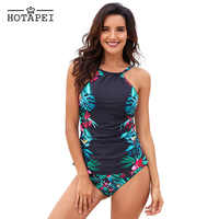 Hotapei Two piece Swimsuit Women Black Swimwear Leaf & Flower Print Ruched Tankini Set Padded bathing suit Maillot De Bain Femme