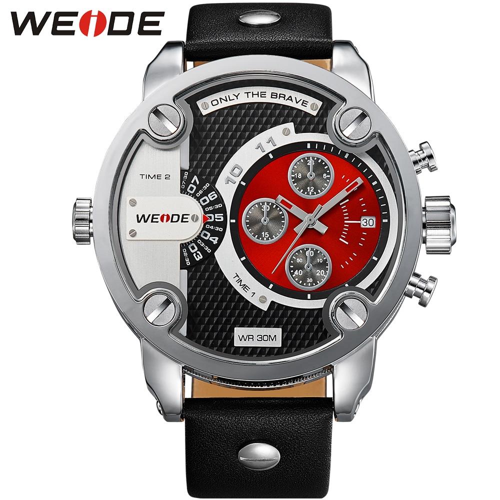 все цены на 2017 WEIDE Relogio Masculino Military Watches Analog Display Original Men Quartz Big Dial Fashion Leather Strap Watches for Men онлайн