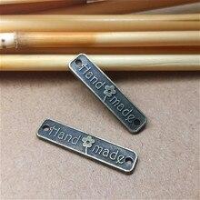 80pcs/pack DIY Bracelets Accessories Antique Bronze Vintage Alloy Hand made Words Rectangle Charms Pendant Connectors 24*6mm