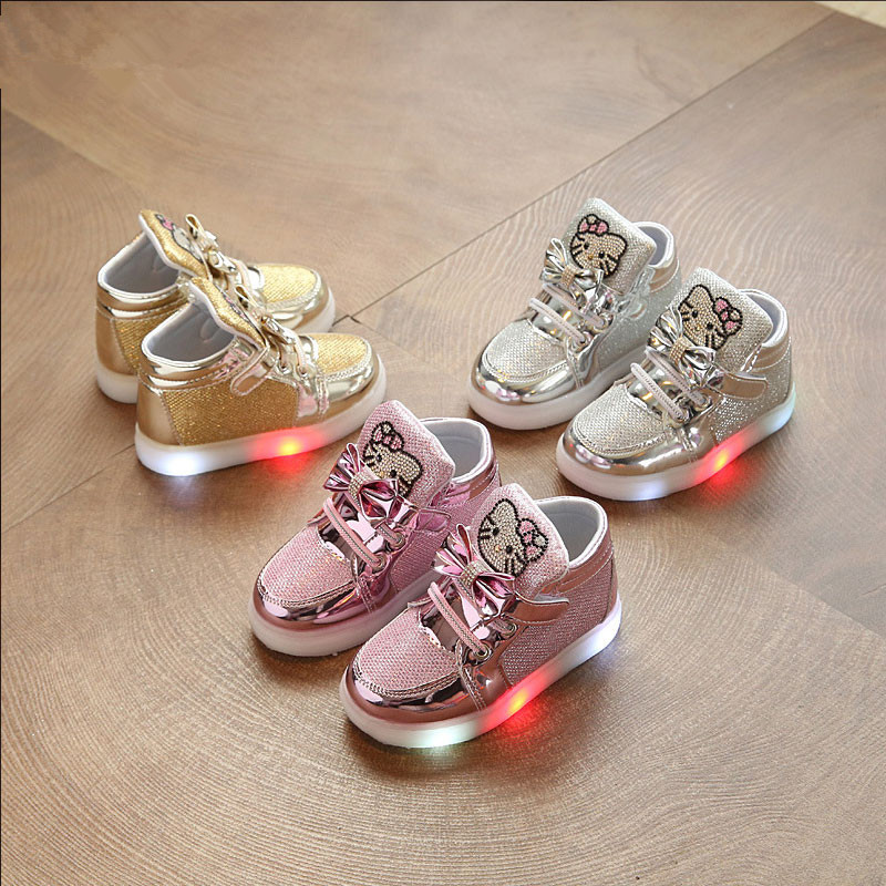 Children Shoes New Spring Hello Kitty Rhinestone Led Shoes Girls Princess Cute Casual Shoes With Light SH19044