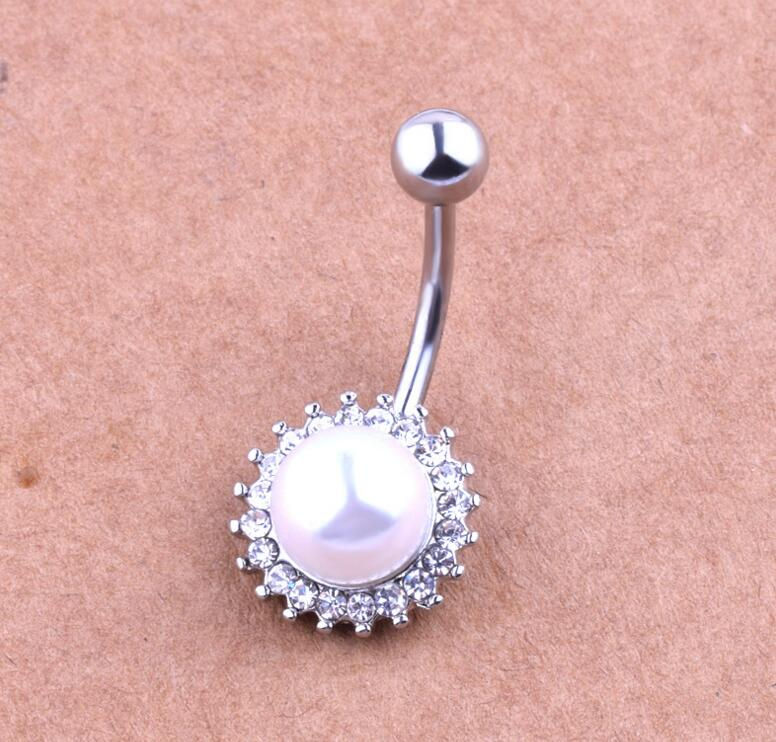 Rhinestone Pearl Piercing Belly Button Ring Barbell Piercing Ring Body Jewelry Summer Style Women Body Chains Plug