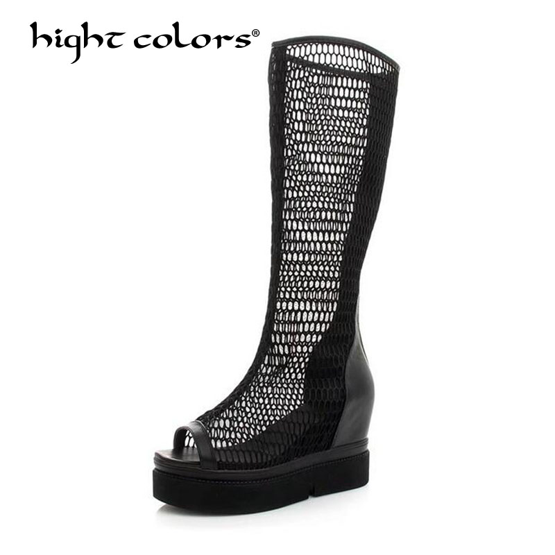 Hot sale New 2018 Fashion Summer Hollow Women Long Boots Platform Fashion Cut Outs Ladies Peep Toe Height Increasing Shoes 3611