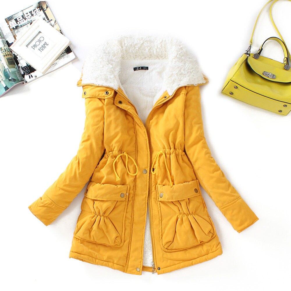 FTLZZ, новые зимние парки, женское тонкое хлопковое пальто, толстое пальто средней длины размера плюс, повседневное пальто, стеганая зимняя верхняя одежда - Цвет: yellow