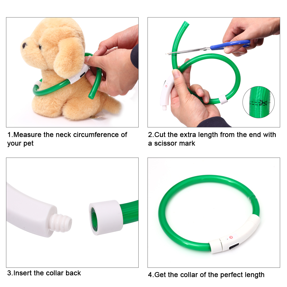 Image 4 - USB Charging LED Dog Collar Glowing Light Cuttable Collar For Dogs Cats Puppies Cool Dog Supplies Cat Supplies Products For Dogs-in Collars from Home & Garden